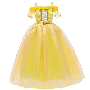 cheap Movie & TV Theme Costumes-Princess Belle Dress Flower Girl Dress Girls' Movie Cosplay A-Line Slip Yellow Dress Halloween Children's Day Masquerade Polyester
