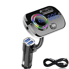 povoljno Auto Bluetooth set/Hands-free-fm predajnik bluetooth 5.0 auto handsfree kit mp3 glazbeni player podrška tf kartica / u reprodukcija diska dual usb brzo punjenje bc49a