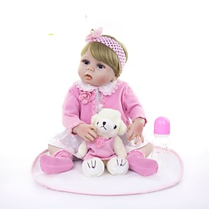 cheap Reborn Doll-KEIUMI 22 inch Reborn Doll Baby & Toddler Toy Reborn Toddler Doll Baby Girl Gift Cute Washable Lovely Parent-Child Interaction Full Body Silicone 23D23-C112-H36-T19 with Clothes and Accessories for