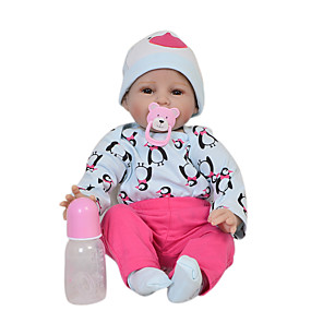 cheap Reborn Doll-Reborn Baby Dolls Clothes Reborn Doll Accesories Cotton Fabric for 22-24 Inch Reborn Doll Not Include Reborn Doll Penguin Soft Pure Handmade Girls' 4 pcs