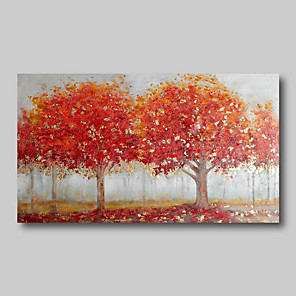 cheap Landscape Paintings-Oil Painting Hand Painted - Abstract Abstract Landscape Comtemporary Modern Large Rolled Canvas Black Red