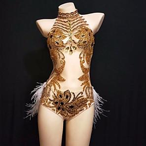 cheap Latin Dancewear-Dance Costumes Leotard / Onesie Feathers / Fur Crystals / Rhinestones Cosplay Performance Sleeveless Tulle