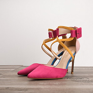 cheap Women's Sandals-Women's Heels Spring Summer Stiletto Heel Pointed Toe Daily PU Black / Red / Fuchsia / 3-4