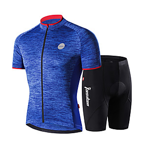 cheap Cycling Jersey & Shorts / Pants Sets-Men's Women's Short Sleeve Cycling Jersey Cycling Shorts Blue Grey Bike Quick Dry Sports Mountain Bike MTB Road Bike Cycling Clothing Apparel / Stretchy