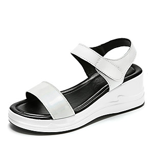 cheap Women's Sandals-Women's Sandals Summer Wedge Heel Open Toe Daily Outdoor Leather White / Black / Silver
