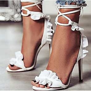 cheap Necklaces-Women's Heels Summer Stiletto Heel Pointed Toe Daily Solid Colored PU White