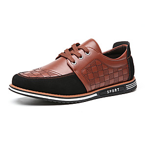 cheap Men's Oxfords-Men's Spring / Fall Casual / British Daily Party & Evening Oxfords Walking Shoes Faux Leather Non-slipping Wear Proof Light Brown / Black / Blue