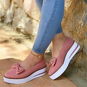 cheap Women's Flats-Women's Flats Summer Fall Flat Heel Round Toe Preppy Daily Bowknot Solid Colored Faux Leather Black / Burgundy / Pink