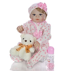 cheap Reborn Doll-KEIUMI 22 inch Reborn Doll Baby & Toddler Toy Reborn Toddler Doll Baby Girl Gift Cute Washable Lovely Parent-Child Interaction Full Body Silicone 23D11-C422-T13 with Clothes and Accessories for