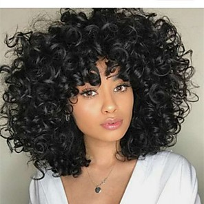 cheap Synthetic Trendy Wigs-Human Hair Lace Front Wig Bob style Brazilian Hair Curly Loose Curl Black Wig 150% Density Classic Women Fashion Women's Medium Length Human Hair Lace Wig Clytie