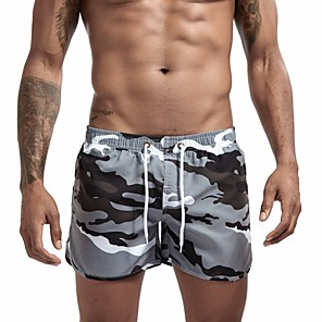 cheap Wetsuits, Diving Suits & Rash Guard Shirts-Men's Lace up Sporty Basic Bottoms Bikini Bottoms Beach board shorts Swim Trunk Swimwear Swimsuit Bathing Suits - Camo / Camouflage Breathable Blue Yellow Green Gray M L XL