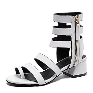 cheap Women's Sandals-Women's Sandals Roman Shoes / Gladiator Sandals Summer Cuban Heel Open Toe Daily PU White / Black / Orange