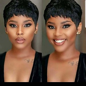 cheap Synthetic Trendy Wigs-Remy Human Hair Wig Short Natural Straight Pixie Cut Natural Black Natural Hot Sale Cool Capless Women's Natural Black 6 inch / For Black Women