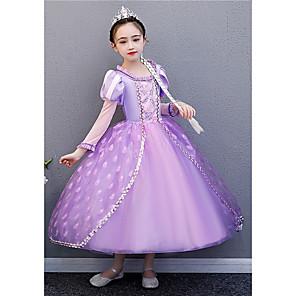 cheap Movie & TV Theme Costumes-Princess Rapunzel Dress Flower Girl Dress Girls' Movie Cosplay A-Line Slip Purple Dress Halloween Children's Day Masquerade Polyester