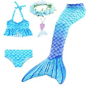 cheap Dog Clothes-Kids Toddler Girls' Active Cute Mermaid Tail Color Block Rainbow Backless Ruffle Sleeveless Swimwear Blue