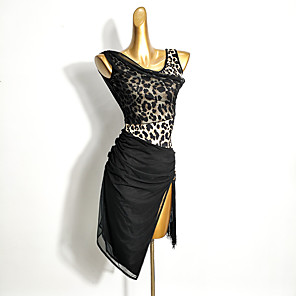 cheap Latin Dancewear-Latin Dance Dress Tassel Split Joint Women's Training Performance Sleeveless Mesh Milk Fiber Ice Silk