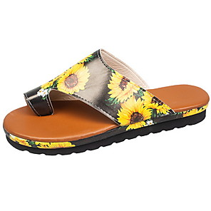 cheap Women's Sandals-Women's Sandals Summer Flat Heel Open Toe Daily PU Yellow / Fuchsia