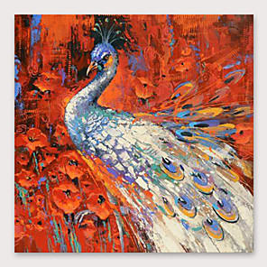 cheap Abstract Paintings-IARTS®Hand Painted Beautiful peacock Oil Painting   with Stretched Frame For Home Decoration