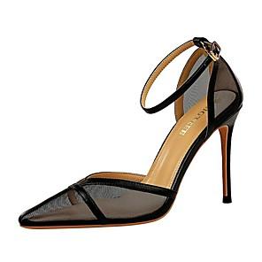 cheap Women's Heels-Women's Sandals Summer Stiletto Heel Open Toe Daily Solid Colored PU Nude / White / Black
