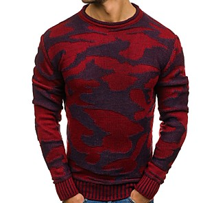 cheap LED Strip Lights-Men's Geometric Pullover Long Sleeve Sweater Cardigans Crew Neck Red Navy Blue