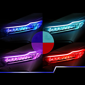 cheap Car Decoration Lights-2PCS New Type Of Ultra Thin Light Guide Strip 60cm Dual Color LED Water Lamp Car Decorative Lamp White Yellow Turn Signal