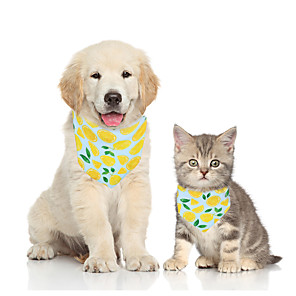 cheap Dog Clothes-Dog Cat Bandanas & Hats Dog Bandana Dog Bibs Scarf Fruit Casual / Sporty Cute Party Sports Dog Clothes Adjustable Yellow Green Costume Fabric S M