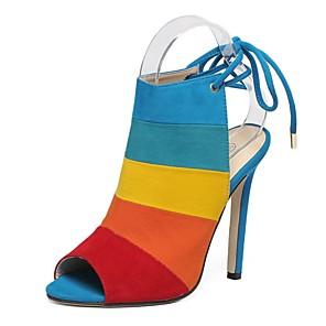 cheap Women's Sandals-Women's Sandals Summer Stiletto Heel Open Toe Daily PU Brown / Rainbow