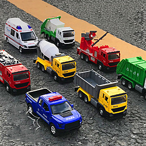 cheap Toy Trucks & Construction Vehicles-Construction Truck Toys Pull Back Car / Inertia Car Pull Back Vehicle Mini Police car Ambulance Vehicle Sanitation Truck Simulation Drop-resistant Alloy Mini Car Vehicles Toys for Party Favor or Kids