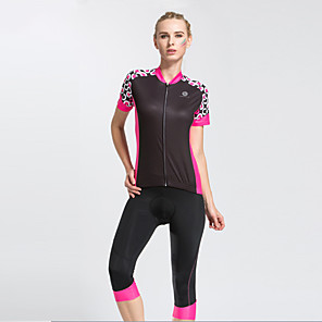 cheap Cycling Jerseys-TASDAN Women's Short Sleeve Cycling Jersey with Shorts Polyester Black Purple Patchwork Bike Clothing Suit Breathable 3D Pad Quick Dry Reflective Strips Back Pocket Sports Solid Color Mountain Bike