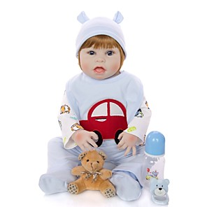 cheap Stuffed Animals-KEIUMI 22 inch Reborn Doll Baby & Toddler Toy Reborn Toddler Doll Baby Boy Gift Cute Washable Lovely Parent-Child Interaction Full Body Silicone 23D64-C215-T18 with Clothes and Accessories for Girls