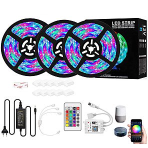 cheap LED Strip Lights-RGB Led Strip 900 LEDs Intelligent Dimming App Control Flexible Led Strip Lights 15M (3x5M) 2835 RGB SMD IR 24 Key Controller with 12V 4A Adapter Kit