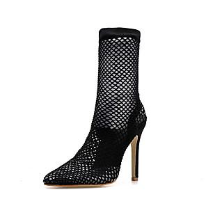 cheap Women's Heels-Women's Heels Summer Stiletto Heel Pointed Toe Daily Faux Fur / Mesh Black / Green