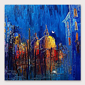 cheap Abstract Paintings-IARTS®Hand Painted Moonlight  Oil Painting   with Stretched Frame For Home Decoration
