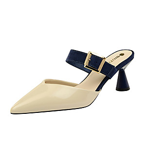 cheap Women's Sandals-Women's Clogs & Mules / Slippers & Flip-Flops Summer Flare Heel Pointed Toe Daily Color Block PU Camel / Almond / White