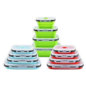 cheap Lunch Boxes & Bags-4Pcs Silicone Collapsible Lunch Box Food Storage Container Microwavable Portable Picnic Camping Rectangle Outdoor Box