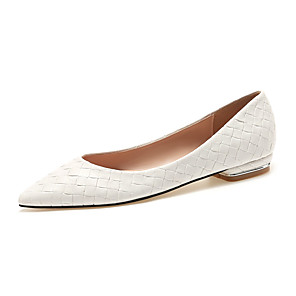 cheap Women's Flats-Women's Flats Spring / Fall Flat Heel Pointed Toe Basic Vintage Minimalism Daily Office & Career Solid Colored Braided Faux Leather Light Yellow / White / Red