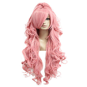 cheap Costume Wigs-Cosplay Costume Wig Synthetic Wig Cosplay Wig Luka 035G Vocaloid Curly Cosplay With Ponytail Wig Pink Long Pink+Red Pink Synthetic Hair 28 inch Women's Cosplay Pink hairjoy