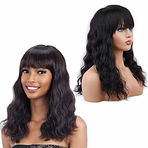 cheap Kids' Dancewear-Remy Human Hair Wig Medium Length Wavy With Bangs Natural Black Party Women Fashion Capless Women's Natural Black 14 inch