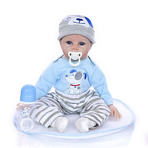 cheap Reborn Doll-KEIUMI 22 inch Reborn Doll Baby & Toddler Toy Reborn Toddler Doll Baby Boy Gift Cute Lovely Parent-Child Interaction Tipped and Sealed Nails 3/4 Silicone Limbs and Cotton Filled Body 22D33-C237 with