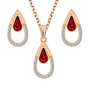 cheap Rings-Women's Crystal Bridal Jewelry Sets Briolette Pear Elegant Trendy Earrings Jewelry Purple / Red For Wedding Party Festival 1 set