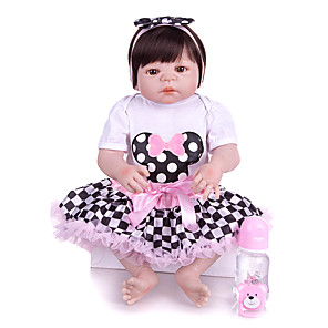 cheap Reborn Doll-KEIUMI 22 inch Reborn Doll Baby & Toddler Toy Reborn Toddler Doll Baby Girl Gift Cute Washable Lovely Parent-Child Interaction Full Body Silicone 23D01-C86-H110 with Clothes and Accessories for
