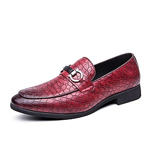 cheap Men's Slip-ons & Loafers-Men's Summer Daily Loafers & Slip-Ons PU Black / Red / Brown