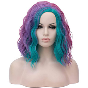 cheap Colored Hair Weaves-Synthetic Wig Curly Wavy Short Bob Wig Medium Length Purple / Pink / Blue Black / White Rainbow Rainbow Synthetic Hair 14 inch Women's Cosplay Creative Party Mixed Color