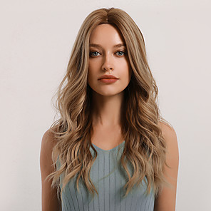 cheap Synthetic Trendy Wigs-Synthetic Wig Curly Body Wave Middle Part Side Part Wig Very Long Light Brown Synthetic Hair 24 inch Women's Cosplay Women Synthetic Brown BLONDE UNICORN / African American Wig