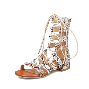 cheap Women's Sandals-Women's Sandals Roman Shoes / Gladiator Sandals Summer Flat Heel Open Toe Daily Snakeskin PU White / Orange