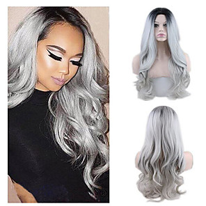cheap Synthetic Trendy Wigs-Synthetic Wig Wavy Curly Weave Middle Part Wig Long Grey Synthetic Hair 22 inch Women's New Arrival Comfortable Middle Part Dark Gray