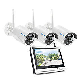 cheap Video Door Phone Systems-Techage Wireless 3CH CCTV System 1080P Home Security Camera System With 12 Inches Video Recorder 8x Playback, Mobile&PC Remote Night Vision Survilliance