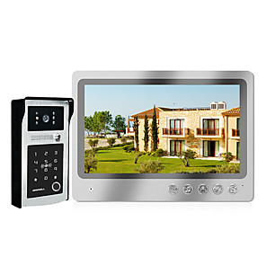 cheap Video Door Phone Systems-Video Intercom Home Security Video Door Phone Fingerprint Password IC Card Unlock HD 9 inch Screen Wired Intercom System For Villa