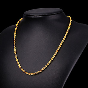 cheap Pendant Necklaces-Men's Chain Necklace Long Necklace Rope Foxtail chain Mariner Chain Fashion Hip Hop Stainless Steel Black Gold Silver 55 cm Necklace Jewelry 1pc For Party Gift Causal Street