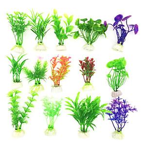 cheap Pumps & Filters-Fish Tank Aquarium Decoration Waterplant Artificial Plants Non-toxic & Tasteless Plastic 5pcs